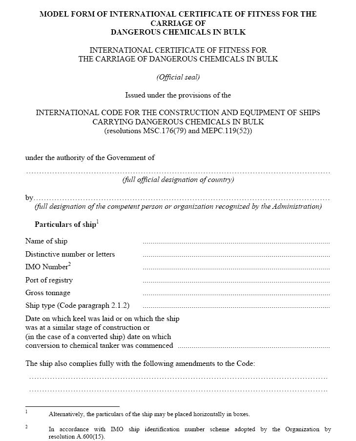 IBC-Code, 2004 International code for the construction and