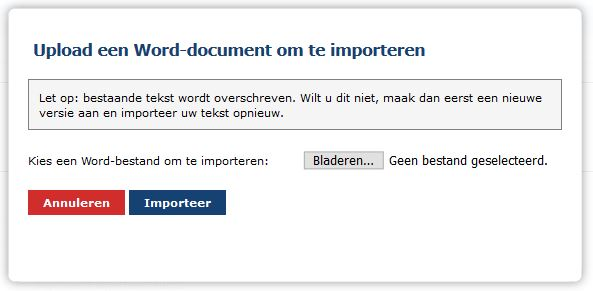 Word import scherm